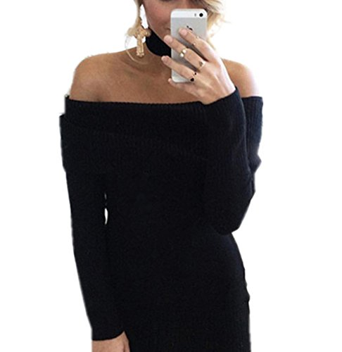 Aidonger nero Maniche Spalline Lunghe Donna senza Maglia Autunno a Invernale Vestito per ZxFZPqr