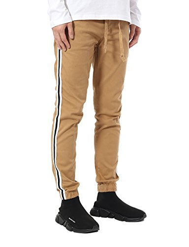 JD Apparel Men's Skinny Fit Retro Track Joggers with White S