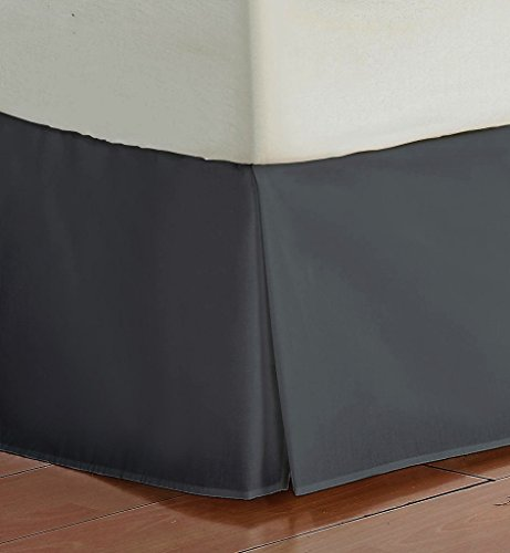 Silk 12' Single (Vedanta Home Collection Hotel Quality 700-Thread-Count Egyptian Cotton Twin Size One Piece Split Corner Bed Skirt 16 Inch Drop Length Dark Gray Solid)