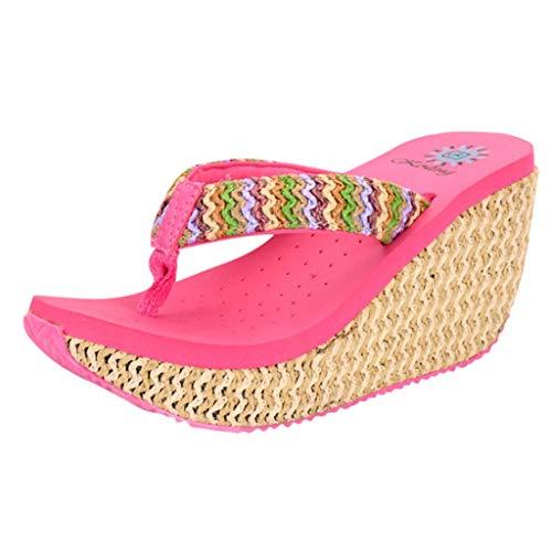 MILIMIEYIK Slippers, Shoes Sandals New Women High Heels Flip Flops Fashion Platform Wedges Sandals Bohemia Beach Slippers Hot Pink