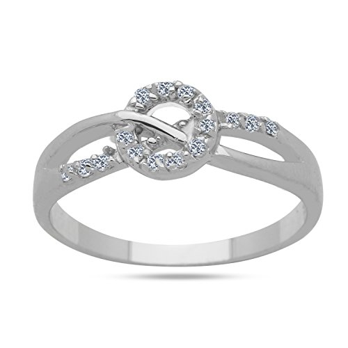 925 Sterling Silver CZ Ring Split Shank Twist Round Open Design Ring (Rounds Ring Open Shank)