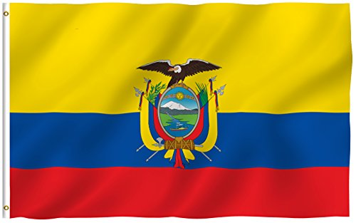 Anley  Fly Breeze  3X5 Foot Ecuador Flag   Vivid Color And Uv Fade Resistant   Canvas Header And Double Stitched   Ecuadoran National Flags Polyester With Brass Grommets 3 X 5 Ft