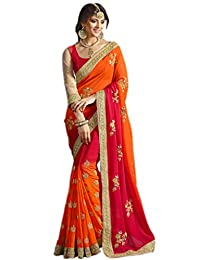 Try n Get's Orange and Red Color Georgette Designer Saree