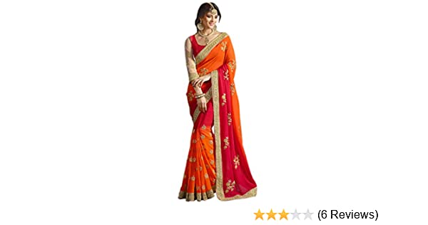 11b6daddc Amazon.com  Try n Get s Orange and Red Color Georgette Designer Saree   Clothing