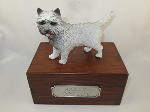 Beautiful Paulownia Small Wooden Urn with Gray Cairn Terrier Figurine & Personalized Pewter Engraving