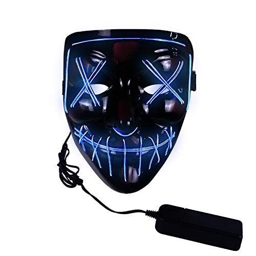 molezu LED Light Up Scary Mask, Novelty Halloween Costume Party Creepy Props, Safe EL Wire PVC DJs Mask