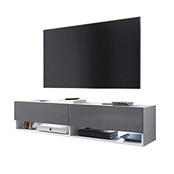Selsey Wander Meuble Tv Suspendu Banc Tv Avec Led 140 Cm Blanc Mat Gris Brillant