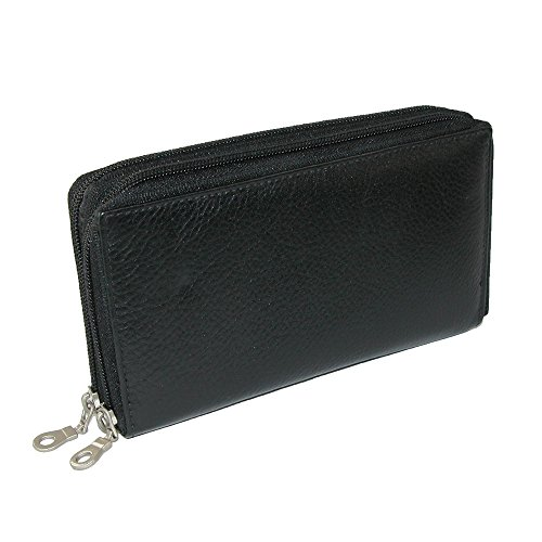 Paul & Taylor Leather Double Zippered Checkbook Cover Wallet, Black