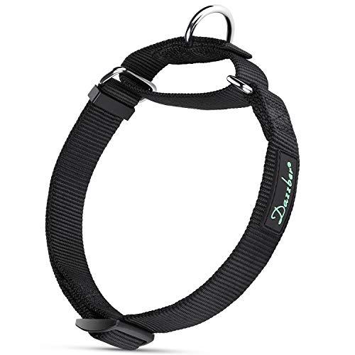 Dazzber Martingale Dog Collars Nylon, Classic Black, Neck 11-17, No Pull Dog Collar Heavy Duty for Small Mediun Dogs