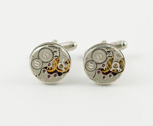 Steampunk Watch Movement Cufflinks -- Circular-Shaped