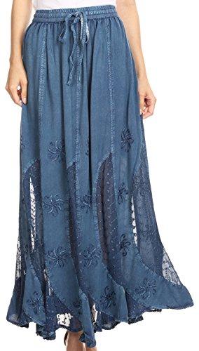 - Sakkas 6008 - Aleja Womens Bohemian Gypsy Maxi Long Skirt Adjustable Elastic Waist Lace - Blue - S
