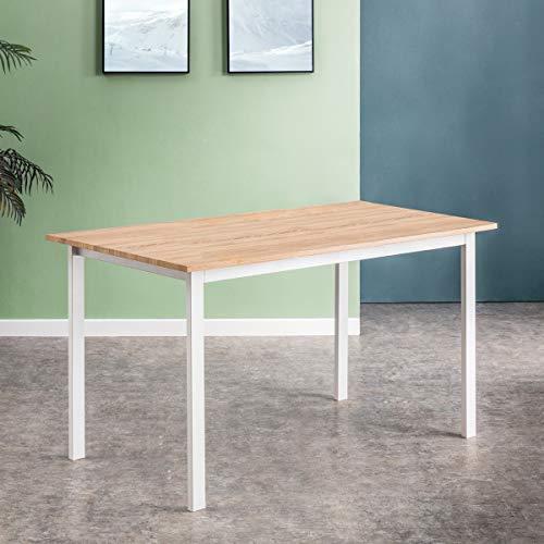Mc Haus KENIA - Mesa Nordica Rectangular Comedor de madera Natural MDF con estructura de Metal Blanca mate, Mesa Cocina Salon Escritorio Diseno Moderno 140x80x77cm