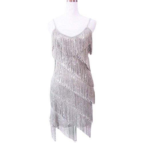 [Halter Latin/Rumba/Cha-cha Dance Dress Sequins Fringe Dance Skirt-Silver] (Chacha Dance Costume)