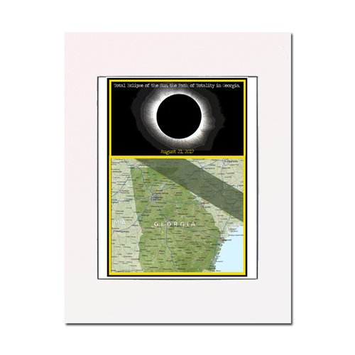 Solar Eclipse 2017 Map Art: the Path of Totality in Georgia. Matted and ready-to-frame. Gallery quality print. Enhance your home or office. by You Are Here Art Prints