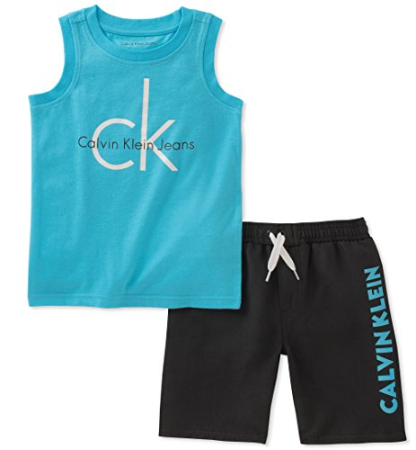Calvin Klein Baby Boys 2 Pieces Muscle Top Short Set, Blue/Black, 12M