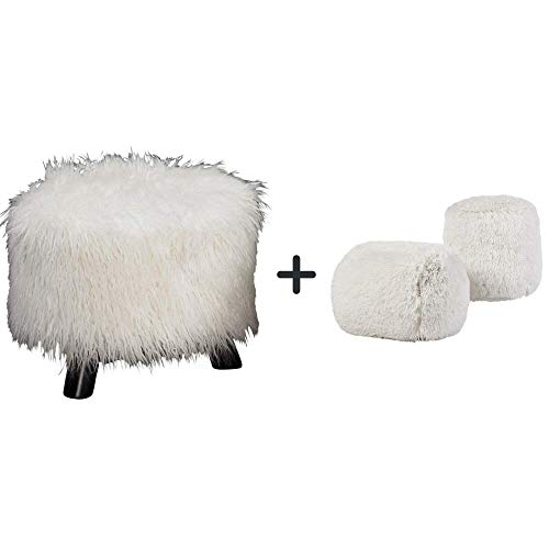 Linon 16 W x 16 D x 12.6 H Sturdy Faux Fur Foot Stool, 16-Inch, White with Free Jar-Candle, Air Freshener, Pack of 2