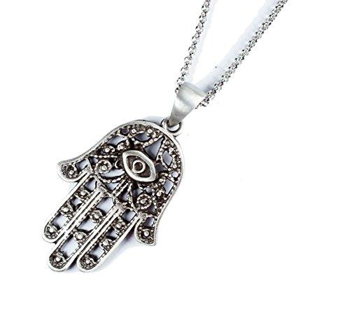 "Exoticdream Hamsa Yoga Buddha Menhdi Ganesh Hand of Fatima Evil Eye Pewter Pendant + 24"" Stainless Steel 316L V"