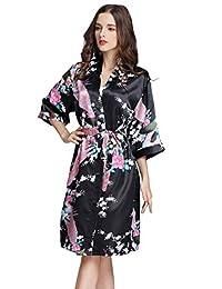eeee9b394227 SEMIR Womens White Peacock Satin Robe Summer Bridesmaid Kimono Bathrobe  Silk Robes