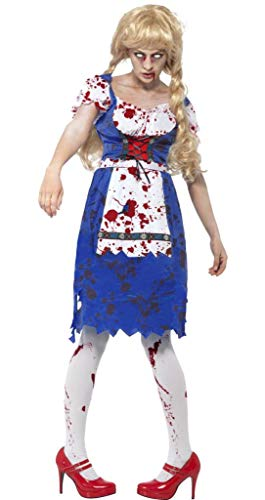 Ladies Zombie Dorothy Bavarian Oktoberfest Dead Beer Girl Halloween Fancy Dress Costume UK 8-18 (UK 12-14) ()
