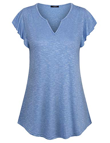 VALOLIA Knit Top for Women, Lady Summer Short Sleeve Shirt Slim Fitting A Line Curved Hem Swing T-Shirt for Walking Shopping Aqua Blue XXL