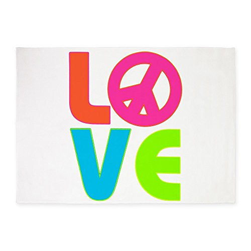 5' x 7' Area Rug Neon Love with Peace Symbol Sign by Royal Lion
