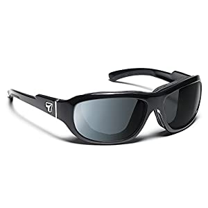 7eye by Panoptx Buran Frame Sunglasses with Polarized Gray Lens, Glossy Black, Small/Large