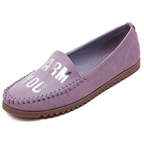 Closed Purple Round Pull Flats On with Shoes Letter Womens Toe Decoration WeenFashion nHp6FF