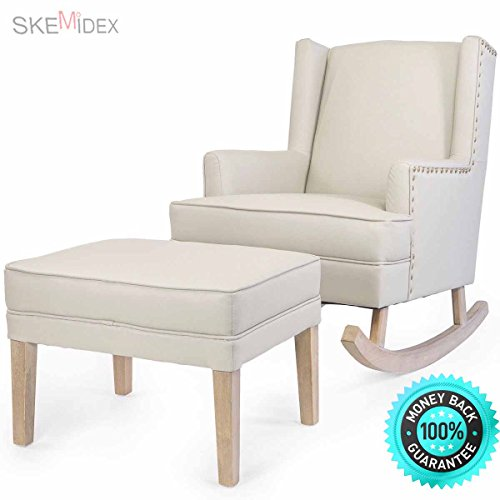 SKEMiDEX— Baby Nursery leather Rocker Rocking Chair Glider & Ottoman Set w/ Cushion Beige Rock your little one off to the land of dreams effortlessly with help from the Barton synthetic leather.