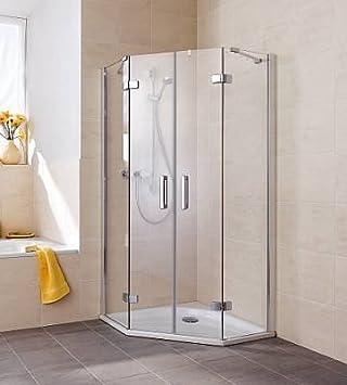 Kermi Gia XP Pentágono-mampara de ducha de alto brillo de plata ...