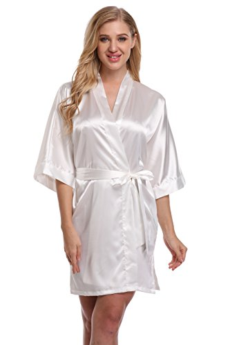Kimono Women's Smooth Touch Short Kimono Robes For Bride and Bridesmaids White XXL