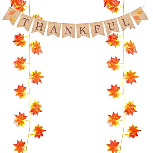 ZSNICE Thanksgiving Decorations Banner Bunting and 2 Strand Artificial Maple Leaves Garlands, Rustic Burlap THANKFUL Banner, Each Strand Maple Leaves 7.5feet/2.3m, Thanksgiving Decor Home Party Decora