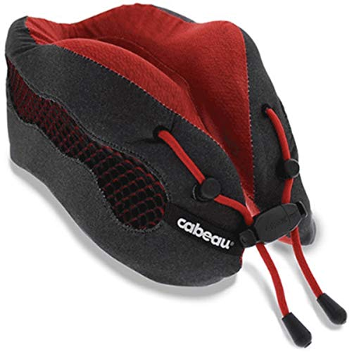 Cabeau Evolution Cool Travel Pillow- The Best Air Circulating Head Neck Memory Foam Cooling Airplane Pillow - Backed by Sleep Science for Maximum Sleep Support - Red