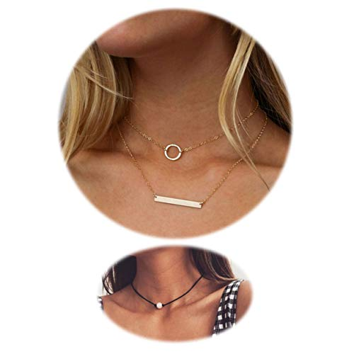 (Engravery Gold Double Layer Circle Bar Choker Necklace for Women)