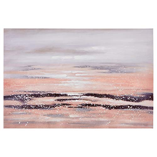 Rivet Contemporary Print with Sand Texture Wall Art Décor on Canvas - 24 x 36 Inch, Peach and Purple