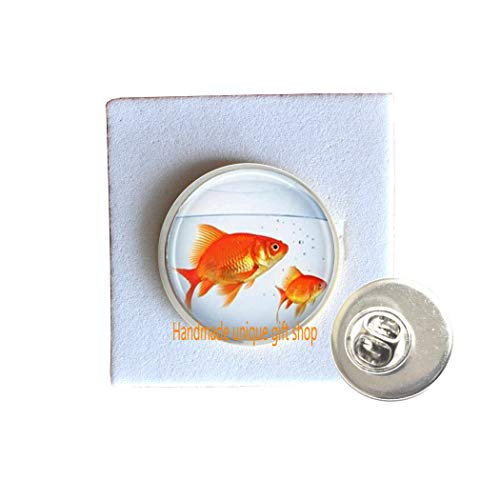 Handmade unique gift shop Fish Brooch, Goldfish Bowl, Fish Jewelry, Fish Tank, Aquarium, Fish Bowl Art Pin in Bronze or Silver with Link Included.TD060 (A) ()