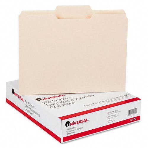 Pt 1 Ply 1/3 Cut - Universal - File Folders, 1/3 Cut 2nd Position, One-Ply Top Tab, Letter, Manila, 100/Box - Pack of 8