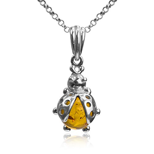 Amber Sterling Silver Ladybug Small Pendant Necklace Chain 18