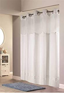 Hookless HBH40E257 Escape Shower Curtain With Snap In Liner White Stripe 71 X