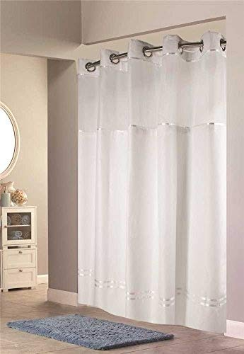 (Hookless HBH40E257 Escape Shower Curtain With Snap in Liner White With White Stripe 71