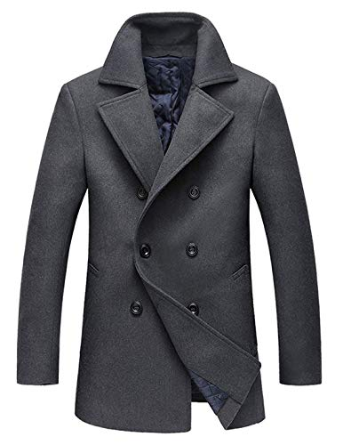 chouyatou Men's Classic Notched Collar Double Breasted Wool Blend Pea Coat (X-Large, Gray)