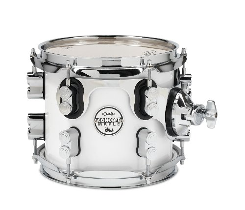 Pacific Drums PDCM0708STPW 7 x 8 Inches Tom with Chrome Hardware - Pearlescent White - Pacific Tom Drum