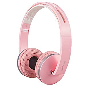 Gorsun Foldable Headphones with Mic and Volume Control for Travel, Sports, Lightweight Stereo On-ear Headsets Strong Bass Earphones (Pink)