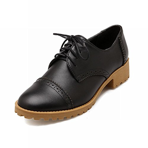 Latasa Mode Lace-up Chunky Bas-talon Oxfords Chaussures Noir