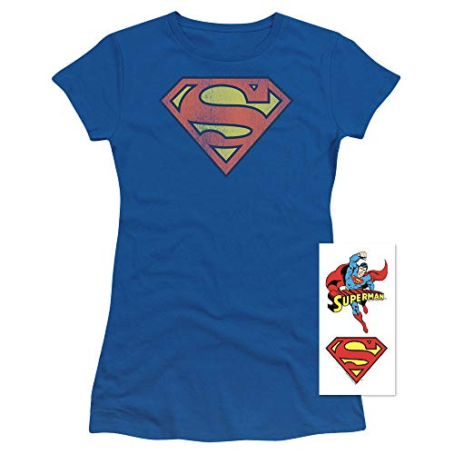 Popfunk Superman Logo Distressed Juniors T Shirt (Large) Royal -