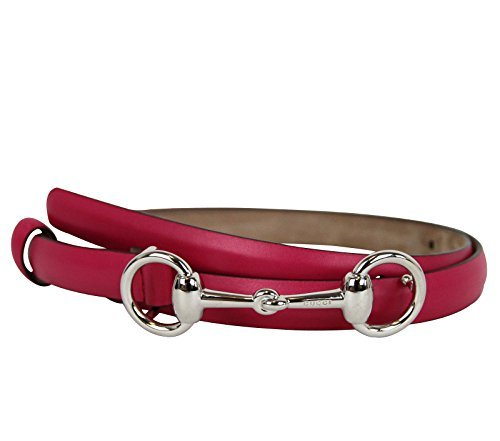 [Gucci Women's Fuchsia Leather Horsebit Thin Skinny Buckle Belt 282349 5614 (85 / 34)] (Horsebit Buckle Belt)