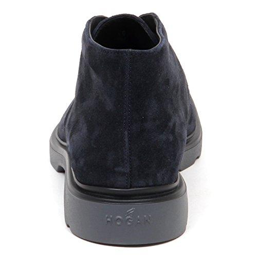 Hogan E0544 Polacchino Uomo Blu H304 New Route Derby Suede Boot Shoe Man Blu