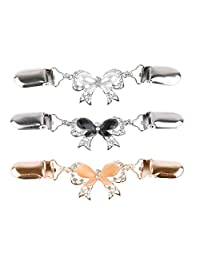 RAYNAG Set of 3 Cute Bow Cardigan Sweater Clip Shawl Collar Clips Butterfly Brooch Pins