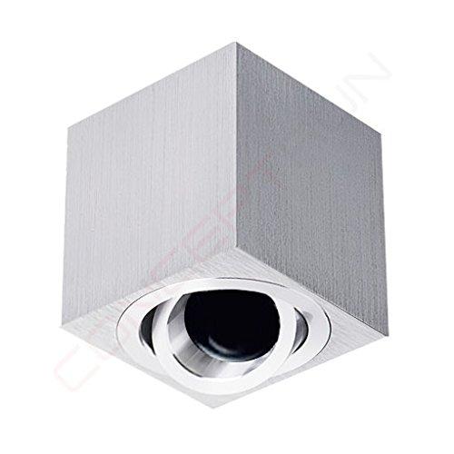 Deckenaufbaustrahler/ Aufbauleuchte/ Aufputz Deckenleuchte/ schwenkbar/ Aluminium gebürstet/ GU10-230V (QUAD-119950) (Ohne Leuchtmittel)