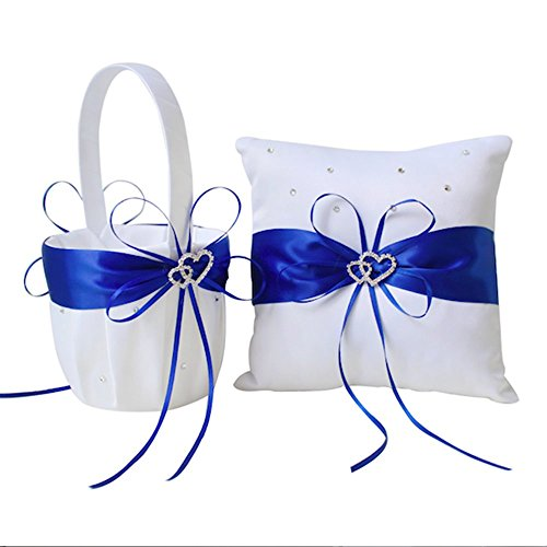 Amajoy 2pcs Wedding Set White Satin and Royal Blue Flower Girl Basket and Ring Pillow Set with Double Heart Rhinestone Decor ()