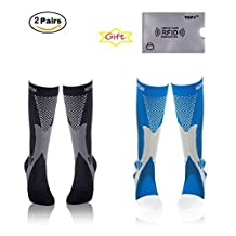 (2Pair) Recovery & Performance Sports Graduated Compression Socks- Men & Women + Free RFID Credit Card Potector